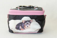 Teacup Yorkie Puppy Dog Black Pink Train Case Zip Up Cosmetic Make Up Bag CUTE