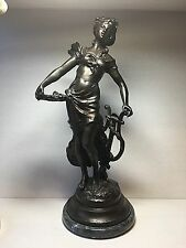 """L F Moreau Signed Bronze Spelter French Sculpture Woman w/ Harp 17"""" MarbleBase"""