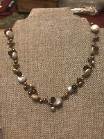 """VINTAGE ESTATE REAL PEARL BROWN EARTH COLOR NECKLACE 18"""" STERLING 925 """"LUC"""""""