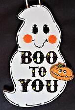 Boo To You Ghost Sign Halloween Pumpkin Wall Door Ghost Hanger Fall Plaque