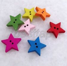 100pcs Mixed Color Small Star Shape Wooden Buttons Fit Sewing/Scrapbook snk230