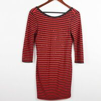 Express Womens Sequins Sheath Dress Size Small Red Black Stripe Party Clubbing