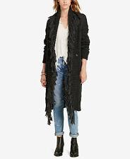 $265 Ralph Lauren Denim Supply Wool Alpaca Fringed Cable Knit Sweater Cardigan
