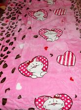 NEW BORREGO SHERPA PINK KITTY CAT HEARTS DESIGN PLUSH MINK BABY BLANKET THROW