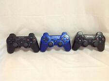 Three (3x) Genuine Sony Playstation PS3 DualShock Controllers - Black/Blue - 4N