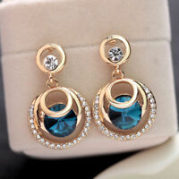 Women Round Big Crystal Rhinestone Blue Glass Gold Plated Wedding Stud Earrings