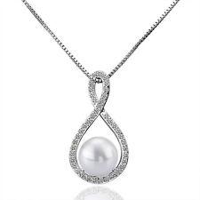 Damen Halskette Perle Zirkonia Tropfen 50 cm pl. mit Sterling Silber DKP020