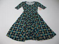new LULAROE Women's Size XS Jersey Knit Blue/Tan Floral Flare Midi Dress
