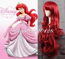 "32"" Dark Red Disney Little Mermaid Princess Ariel Big Wavy Anime Cosplay Wig"