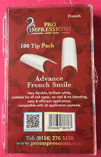 Pro Impressions Box 100 Advance French Smile Tips White Nails Acrylic Gel