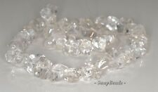18X11-13X7MM  ROCK CRYSTAL GEMSTONE GRADE B FACETED NUGGET LOOSE BEADS 7.5""