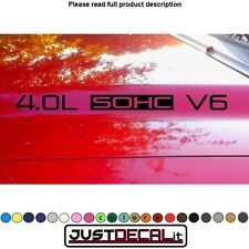 Hood Decal x2 4.0L SOHC V6 text sticker emblem logo 4.0 V4