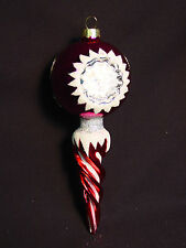 NOS Blown Glass Icicle Xmas Tree Ornament Vtg Holiday Decoration Old Red Purple