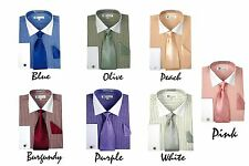 MEN'S DRESS SHIRT 55% COTTON 45% POLY WITH CUFF LINKS TWO TONG COLORS SG17