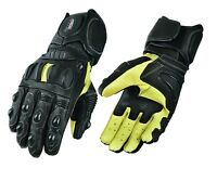 Mens Genuine Leather Motorcycle Motorbike Knuckle SPS Protection Racing Gloves