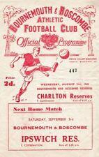 More details for rare football programme bournemouth v charlton athletic reserves 1949