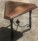 Antique 40 s 3 Leg Walnut   Iron Triangle Table Colonial   Monterey Style
