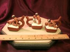 "3 clay EROTIC FIGURINES-Aztec/peruvian? kama sutra-3""H-unique-free ship"