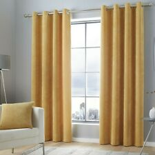 """Curtina """"Kilbride Cord"""" Chenille Ribbed Effect Fully Lined Eyelet Curtains Ochre"""