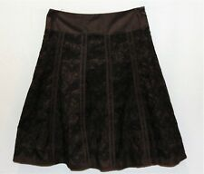 MEXX Brand Chocolate Embroidered Panel Cotton A Line Skirt Size 8 LIKE NEW #AN02