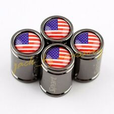 4x Car Wheel Tyre Tire Stem Titanium Alloy Sport Valve Cap USA Stars and Stripes