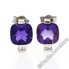 14K White Gold 2.52ct Cushion Checkerboard Amethyst Diamond Petite Stud Earrings