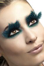Faux cils plumes noires à pois turquoise originaux sexy soirée pin-up burlesque
