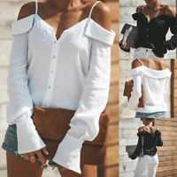 NEW! Women Off Shoulder Sling Tops Long Sleeve Casual Blouse Loose T-shirt S-2XL