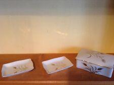 Hand painted vintage Lefton vanity dresser trinket box and two trays