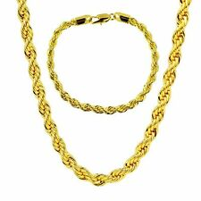 Rope Chain Real 24k Yellow Gold Flled Mens Necklace Bracelet Set Jewelry