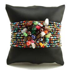 Czech Glass Bead GEM CLUSTER Bracelet Cuff MULTI-COLOR Boho Hippie Gypsy