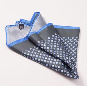 New $215 KITON NAPOLI Gray-Sky Blue Small Floral Medallion Silk Pocket Square