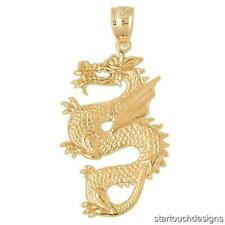 New 14k Yellow Gold Dragon Pendant