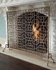 Neiman Marcus Single Panel FLAT Iron FIRESCREEN Fireplace Screen HORCHOW Gold