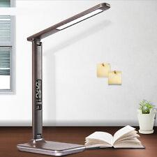 Lampe Bureau Cuir Usb Charge Capteur Tactile Dimmer Led Horloge Calendrier