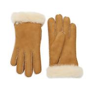 UGG Women's SHEARLING Sheepskin-Trimmed Leather Gloves Chestnut S, L Retail $140