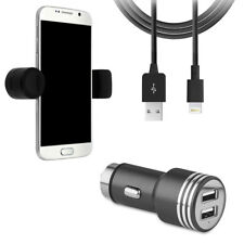 LOT SUPPORT UNIVERSEL TELEPHONE + CHARGEUR VOITURE + CABLE IPHONE 5 6 7 8 X