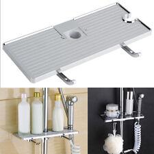 Shower Rod Storage Shelf Organizer Tray Holder Bathroom Accessory ABS Sliver