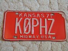 ANTIQUE 1971 KANSAS LICENSE TAG/PLATE - KQPHZ - MIDWAY USA - HAM OPERATOR