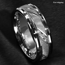 8/6mm Tungsten Carbide Ring Silver leaf New Brushed Style Bridal ATOP Jewelry