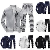2pcs Men Tracksuit Jogging Tops+Pants Sport Suit Hoodie Coat Trousers Outerwear
