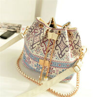 Womens Boho Bucket Casual Shoulder Bag Crossbody Metal Chain Drawstring Handbag