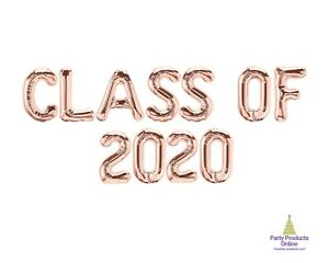 CLASS OF 2020 Letter Balloon Banner - Gold, Rose Gold and Silver