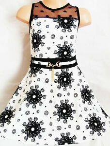GIRLS WHITE BLACK SWIRLY FLORAL PRINT LACE CONTRAST PARTY DRESS age 3-4