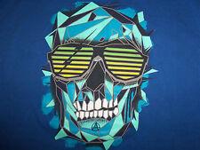 Ecko Unlimited Skull Sunglasses Blue Graphic Print T Shirt - L