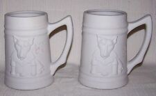 "MP 1992 ""BULL TERRIER BEER STEINS"" Dog Breed Pair Mugs Decor Plaster PL20 *NEW*"