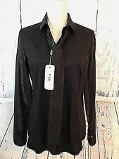 Akris Punto Women's Sz 10 Blouse Shirt Top Brown Long Sleeves Retail $495 NWT