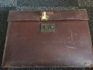 Vintage leather brief case / brachers bristol
