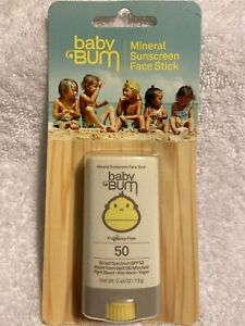 NIP Baby Bum Mineral Sunscreen Face Stick .45oz  SPF 50 Fragrance Free Exp 2/21
