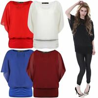 New Ladies 2 In1 Chiffon Twin Batwing Jersey Blouse Top 8-22